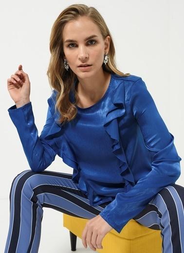 People By Fabrika Fırfır Detaylı Bluz Lacivert